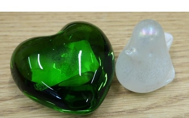 Signed French Baccarrt green glass heart (width 7.5cm) and a...