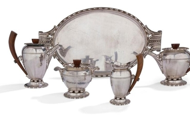 Silver plated metal tea and coffee service in...