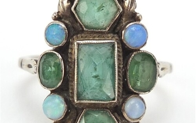 Silver ring set with emeralds and opals, size K, 4.0g