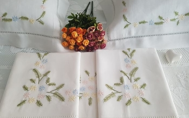 Spectacular 100% pure linen double bed sheet with handmade satin stitch embroidery.