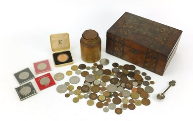 Sundry items including inlaid box and British coinage
