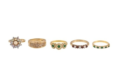 THREE DIAMOND SET DRESS RINGS, together with two other stone...
