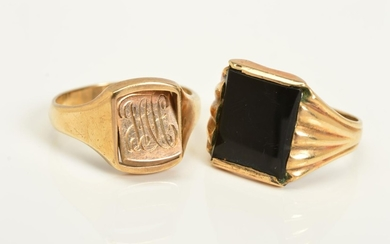 TWO GENTLEMAN'S RINGS, the first a 9ct gold ring, the centra...