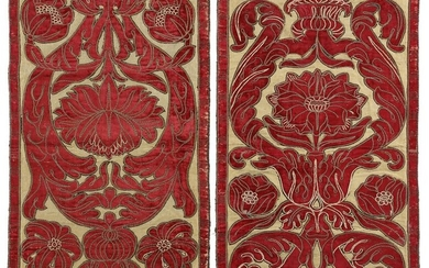 TWO PANELS OF CLOTH OF GOLD ITALIAN, c.1700...