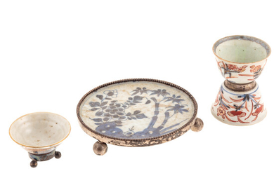 Three Chinese Export Silver Mounted Table Objects