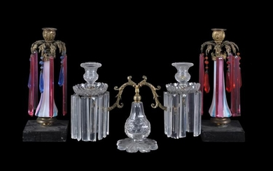 Three various Victorian clear and coloured glass gilt-metal-mounted light fittings