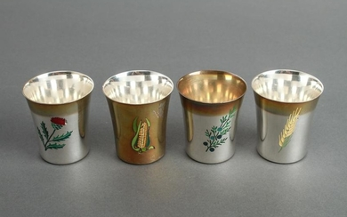 Tiffany & Co. Silver & Enamel Cups, Set of 4