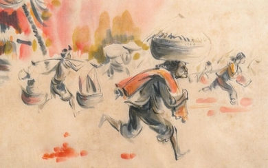 Tu Duyen (Vietnam, 1915 2012), ink and watercolour on silk: 'Palm and napalm', dated 1969