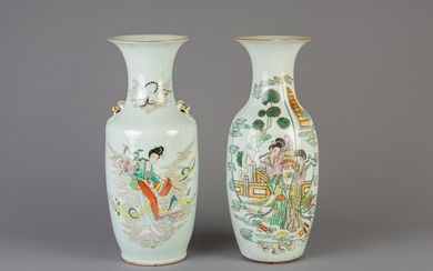 Two Chinese famille rose vases with different designs,...