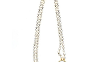Two-strand necklace of cultured pearls, yellow gold and rock crystal