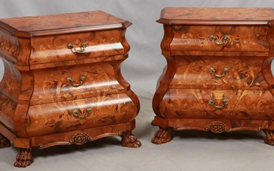 VENETIAN FRUITWOOD MARQUETRY PETITE BOMBE COMMODES