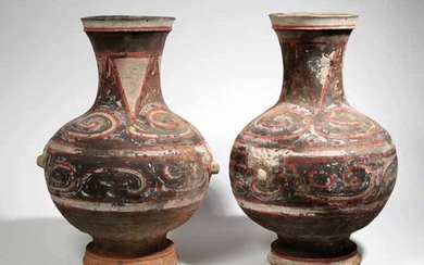 Vase (2) - Terracotta - Hu vase with two Taotie masks - China - Han Dynasty (206 B.C.- 220 A.D.)