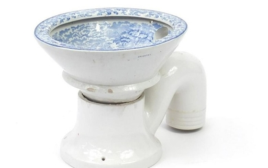 Victorian blue and white two piece toilet, transfer