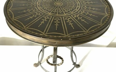 Vintage Footed Round Metal Side Table