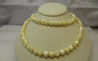 """Vintage Sterling Silver 9mm Mother-of-Pearl Beaded 32"""""""
