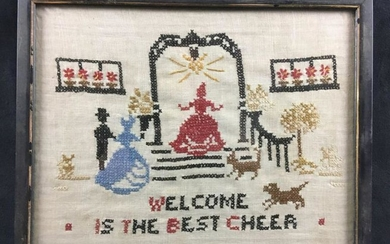 Vintage Welcome Is The Best Cheer Needlepoint Sampler