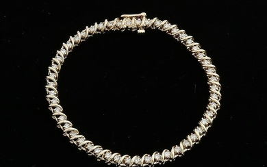 Yellow gold tennis bracelet, 585/000, with