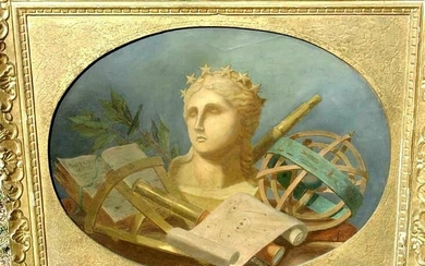 c1804. American still life. Bust of Lady Liberty amongst Maritime objects. Oil /canvas FR3SH