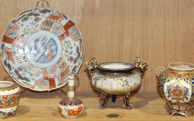(lot of 5) One Shelf of Japanese Kyo-Satsuma, Imari Ware
