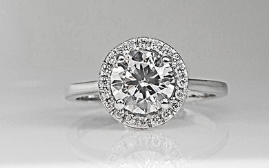 14 kt. White gold - Ring - 1.39 ct Diamond - No Reserve D/VS1
