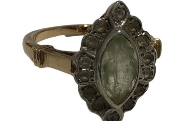 14K YELLOW GOLD GREEN CLEAR STONES LADIES RING 6