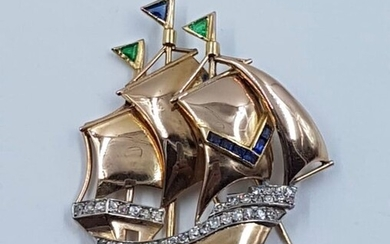 18 kt. 750/000 gold, platinum details, calibrated sapphires, old quarry cut diamonds, emeralds - Art deco sailing ship brooch - 2.00 ct Diamond - Emeralds, Sapphires