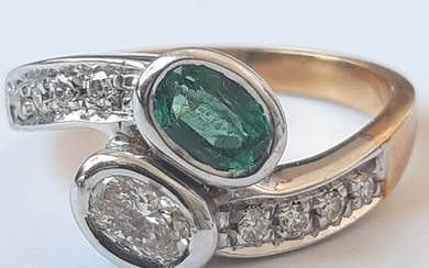 18 kt. Gold - Ring Diamond - Emerald