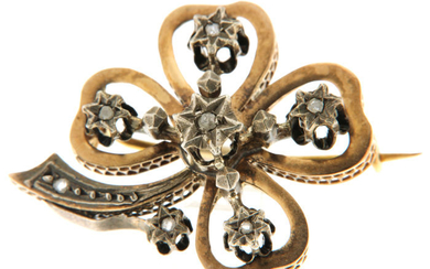 18 kt. Silver, Yellow gold - Brooch Diamond