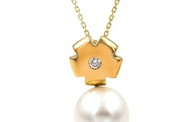 18 kt. South sea pearls, Yellow gold, 10.90 mm - Necklace with pendant Diamond