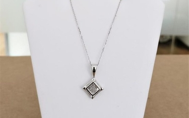 18 kt. White gold - Necklace with pendant - 0.21 ct Diamond