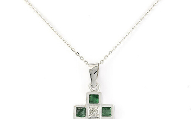 18 kt. White gold - Necklace with pendant - 0.80 ct Emerald - Diamond