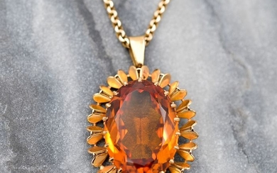 18 kt. Yellow gold - Necklace with pendant - 28.83 ct Citrine