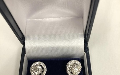 18ct Halo changeable mount Diamond earrings 0.66 pt centres