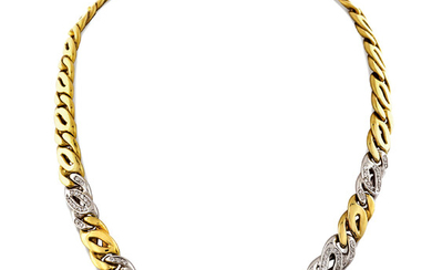18kt two color gold collier