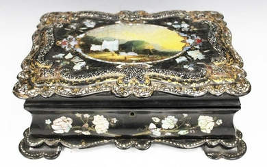 19TH C. MOTHER OF PEARL LACQUERED SEWING BOX