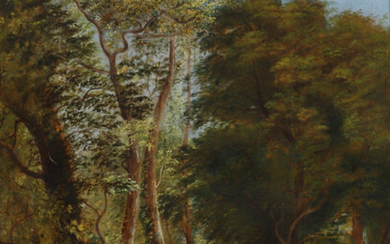 19TH CENTURY BRITISH SCHOOL. FOREST LANDSCAPE WITH FIGURES.