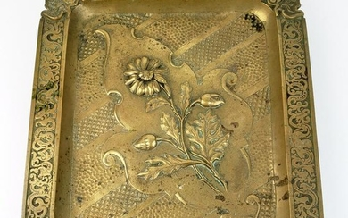 19th C. Bronze Engraved Tray