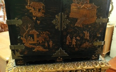 19th C Chinoiserie cabinet on stand, lift off cabinet enclos...