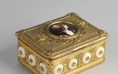 19th century French gilded brass lid box with limoges