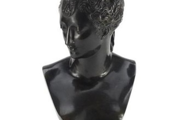 19th century classical patinated bronze bust of a nude