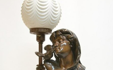 """19thC FRENCH BRONZE BUST , TITLED """"LA CHARMEUSE"""""""
