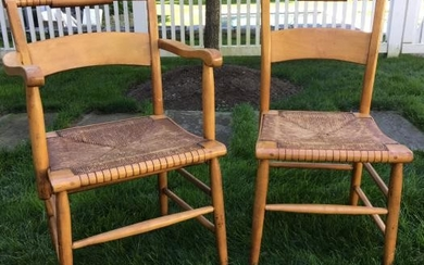 2 Country Style Rush Seat Chairs