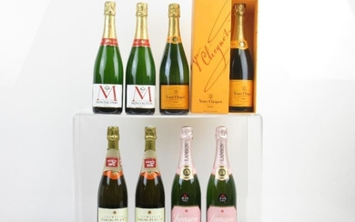 2 bottles of Lanson Brut Rose Champagne (1 with...