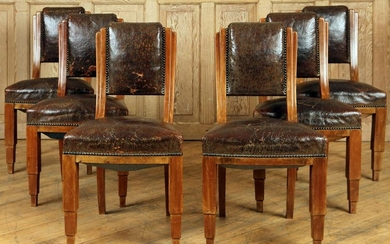 SET 6 FRENCH LEATHER CHAIRS CIRCA 1940