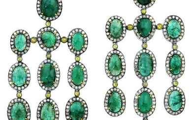 27.55 Carat Emerald Diamond Earrings