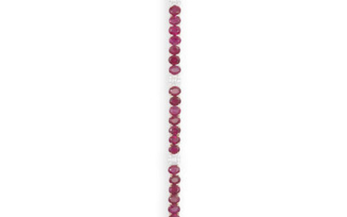 Description A RUBY AND DIAMOND LINE BRACELET Composed of...