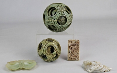 (5) Chinese Carved Hardstone Pieces