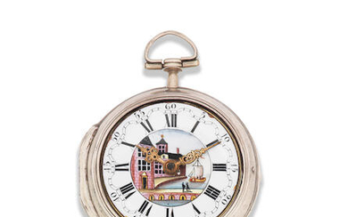 John Rayment, Huntingdon. A silver key wind pair case pocket watch