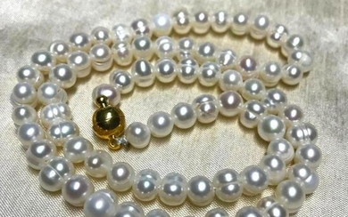 """6-7mm White Natural Freshwater Pearls 18"""" Necklace"""