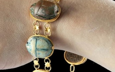 18K+ Gold Bracelet w/ 7 Large Egyptian Faience Scarabs